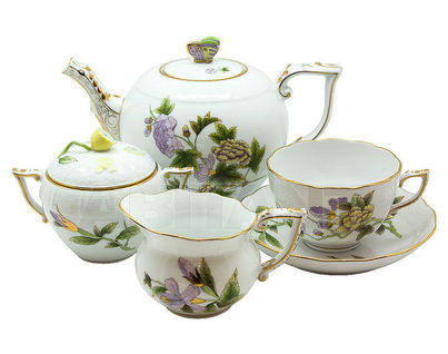 """Сервиз чайный на 6 персон, 15 предметов, декор """"Королевский сад"""" (зеленый)"""