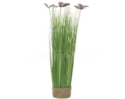 8J-14AK0042 Стебли травы с бабочками на плетеной основе 40 см (крас.) (6)