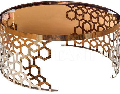 13RXCT8012-GOLD Стол журнальный 90*90*40 коричневый/розовое золото
