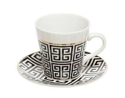 26FC VANITY CUP/S 200BL Чайная пара 200мл черно-белая (6)