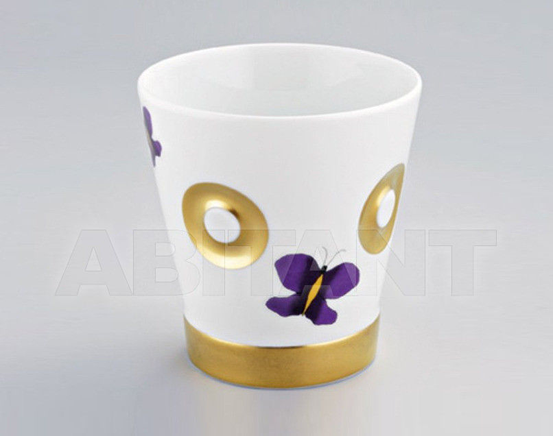 Купить Стакан для зубных щеток THG Bathroom A7D.4610 Capucine mauve butterfly gold decor