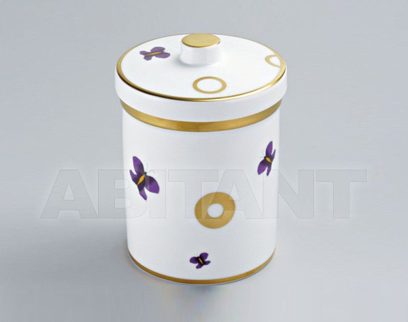 Купить Стакан для зубных щеток THG Bathroom A7D.4611 Capucine mauve butterfly gold decor