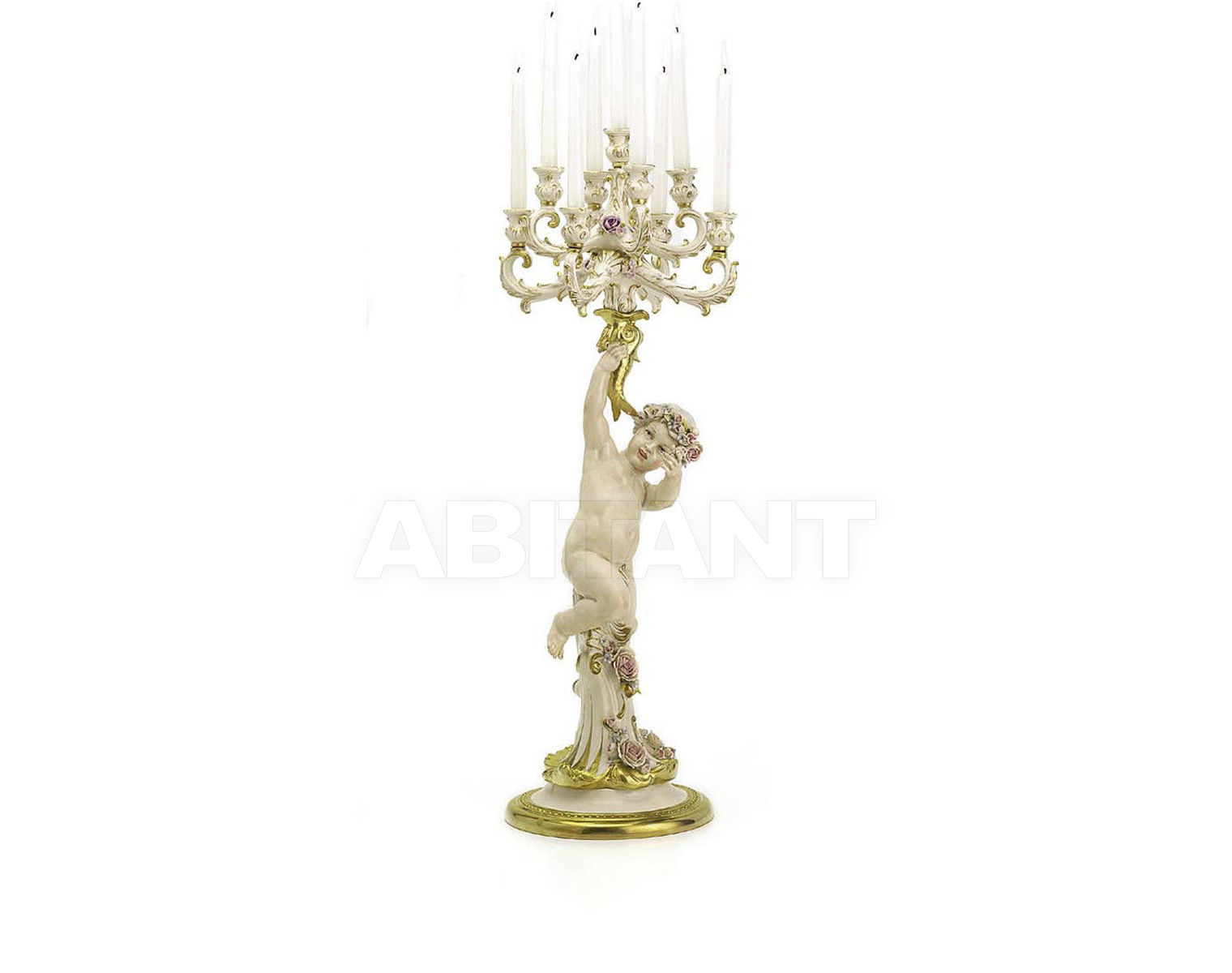 Купить Подсвечник ANGEL WITH 9 BRANCHED CANDELABRA Villari Capodimonte T.01945-002 2
