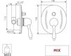 Схема Встраиваемый смеситель Giulini Praga Crystal 7511/S Современный / Скандинавский / Модерн