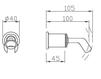 Схема Держатель для душевой лейки Giulini Programma Docce 3216 Современный / Скандинавский / Модерн