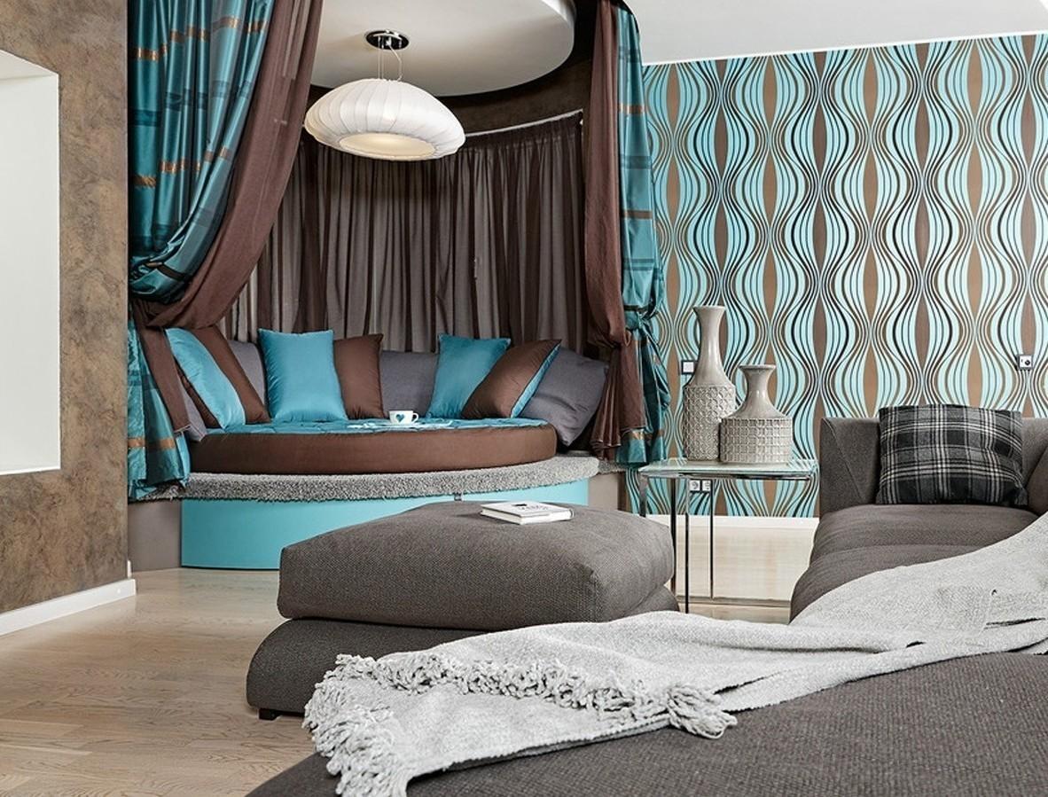 Дизайн штор коричневые