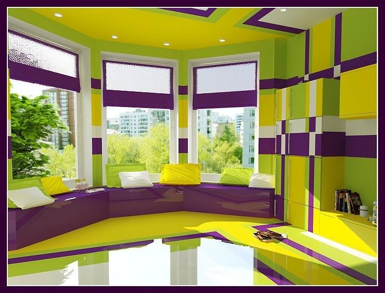 Дизайн лоджии в фиолетовом..