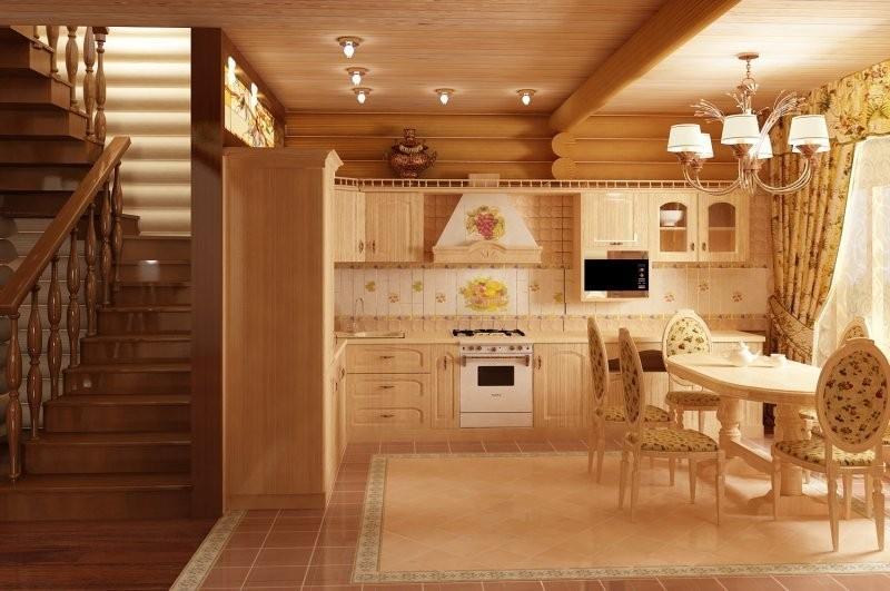 Интерьер кухни в доме из оцилиндрованного бревна