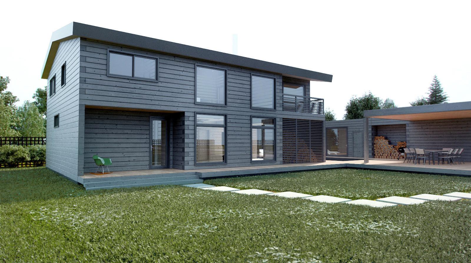 Современные дизайны домов из бруса