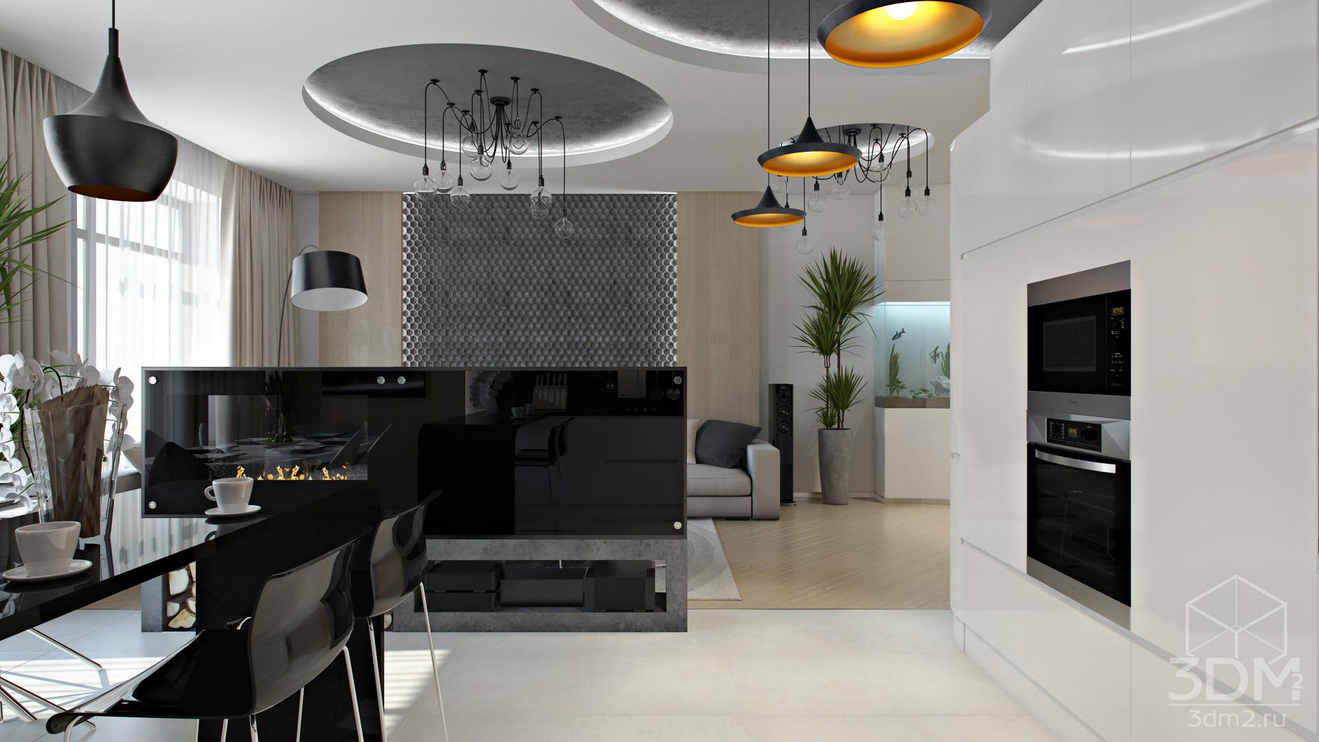 Однокомнатная квартира в стиле хай тек фото